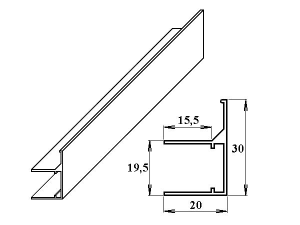 AL ukončovací / okrajový U/F-profil 16 mm 2.10m