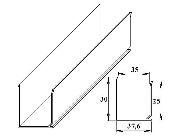AL ukončovací U-profil 35 mm 6m