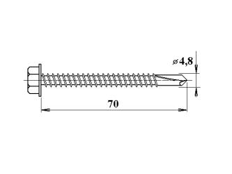Šroub do železa TEX 4,8 x 70 mm šestihranná hlava