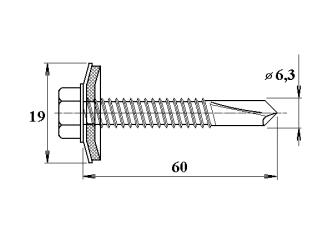 šroub do železa TEX 6,3 x 60 mm šestihranná hlava
