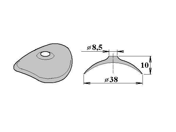 FeZn podložka 38/8,5 oblá pro VL 94/35, VL 95/38,  VL 100/30, VL 130/30