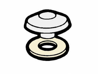 přítlačný terčík pro PC, bílý PP, Ø 53 mm (1 ks)