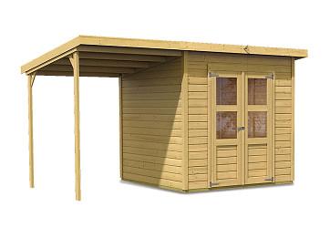 dřevěný domek KARIBU MERSEBURG 5 + přístavek 166 cm (68767) natur