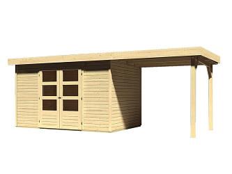 dřevěný domek KARIBU ASKOLA 4 + přístavek 240 cm (73247) natur