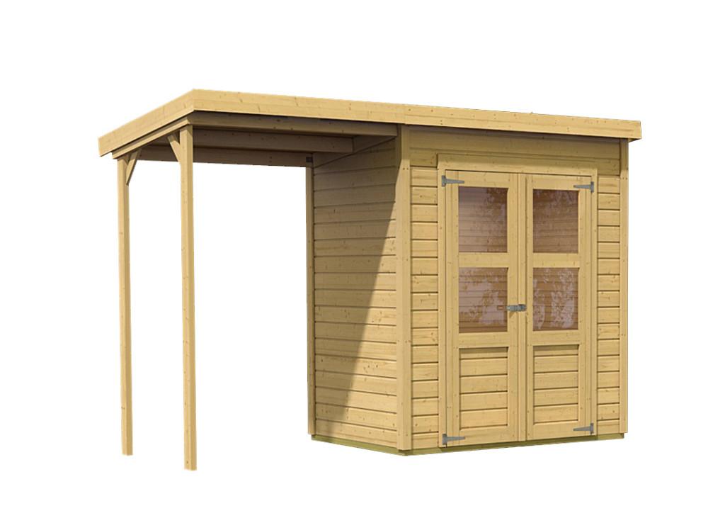 dřevěný domek KARIBU MERSEBURG 2 + přístavek 144 cm (68762) natur