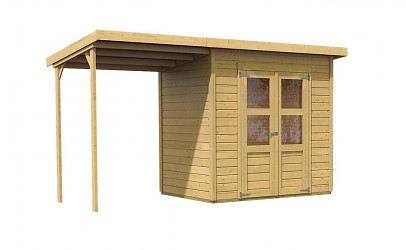 dřevěný domek KARIBU MERSEBURG 3 + přístavek 166 cm (68763) natur