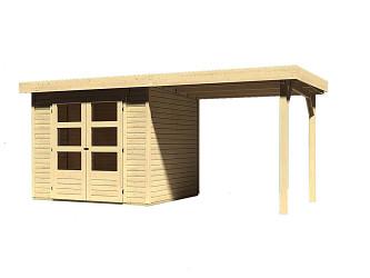 dřevěný domek KARIBU ASKOLA 3 + přístavek 240 cm (73246) natur