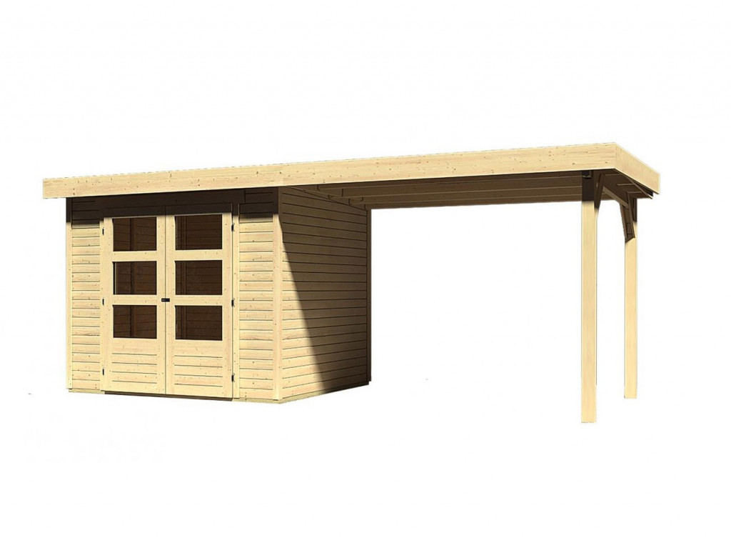 dřevěný domek KARIBU ASKOLA 2 + přístavek 280 cm (77723) natur