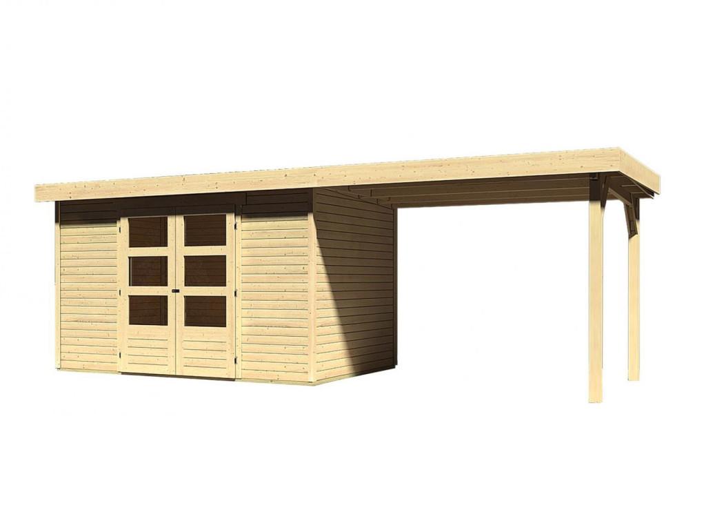 dřevěný domek KARIBU ASKOLA 4 + přístavek 280 cm (77733) natur