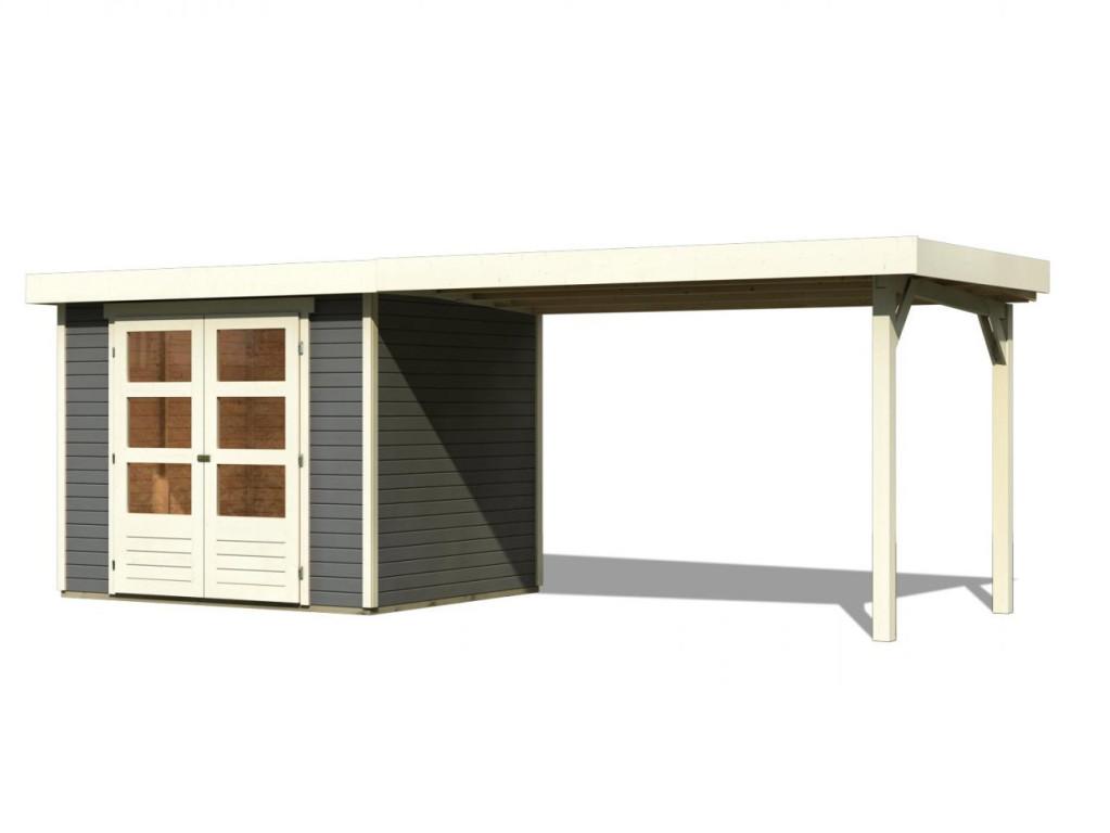 dřevěný domek KARIBU ASKOLA 4 + přístavek 280 cm (92073) tm. šedý