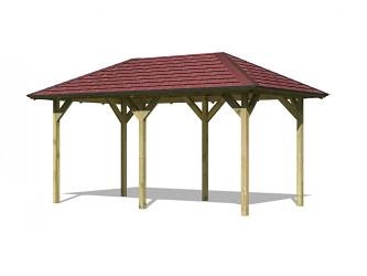 zahradní altán KARIBU LILLEHAMMER 2 68818 vč. červeného střešního šindele