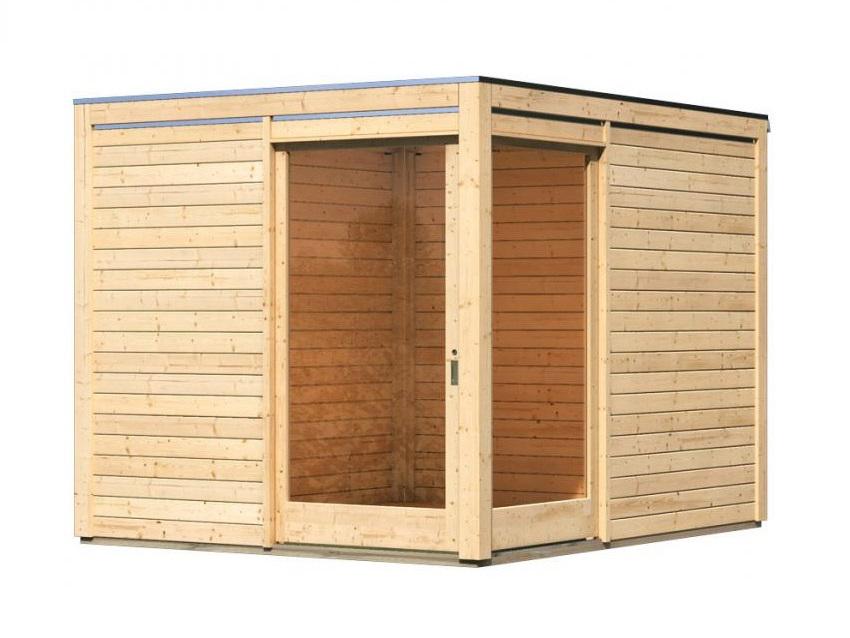 dřevěný domek KARIBU QUBU ECK 83314 natur