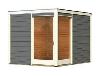 dřevěný domek KARIBU QUBU ECK 83315 tm. šedý