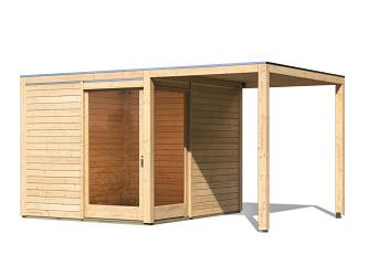 dřevěný domek KARIBU QUBU ECK 83316 natur + přístavek 2 m