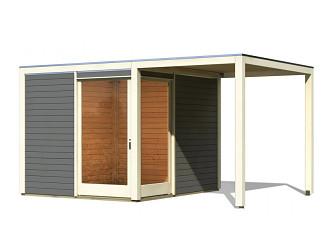 dřevěný domek KARIBU QUBU ECK 83317 tm. šedý + přístavek 2 m