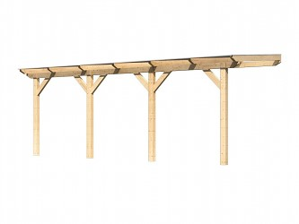 dřevěná pergola KARIBU CLASSIC 3C natur / čirý PC 10 mm