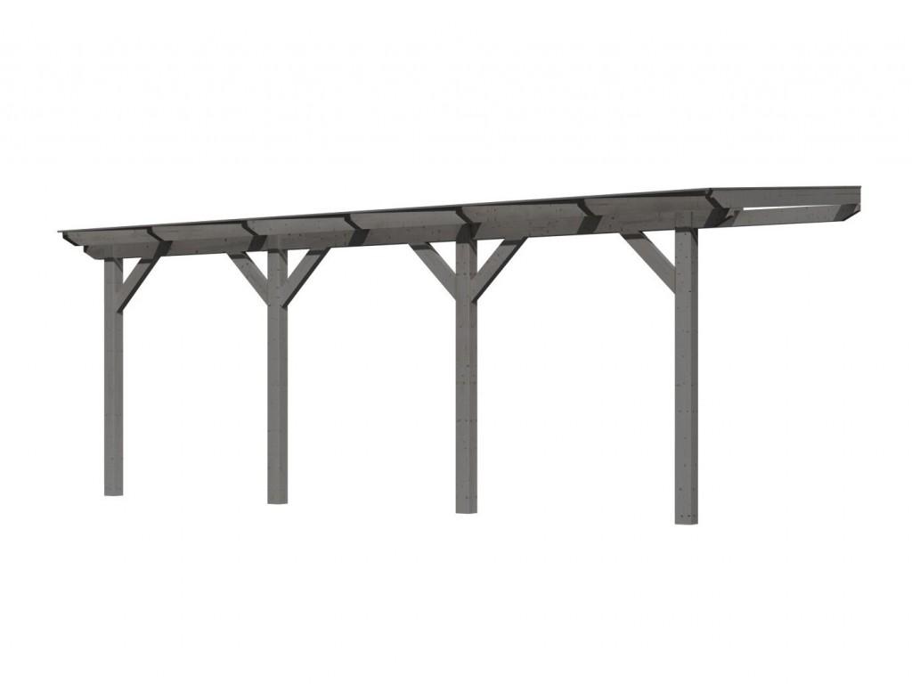 dřevěná pergola KARIBU CLASSIC 1C šedá / čirý PC 10 mm