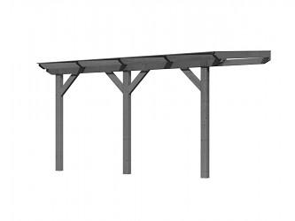 dřevěná pergola KARIBU CLASSIC 3B šedá / čirý PC 10 mm