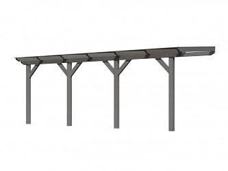 dřevěná pergola KARIBU CLASSIC 3C šedá / čirý PC 10 mm