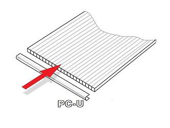 PC U-profil 8 mm pro obloukový skleník délka 2,10 m (1 ks)