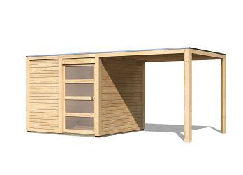 dřevěný domek KARIBU QUBIC 2 + přístavek (88528) natur