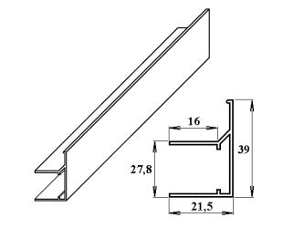 AL ukončovací / okrajový U/F-profil 25 mm 2.10m